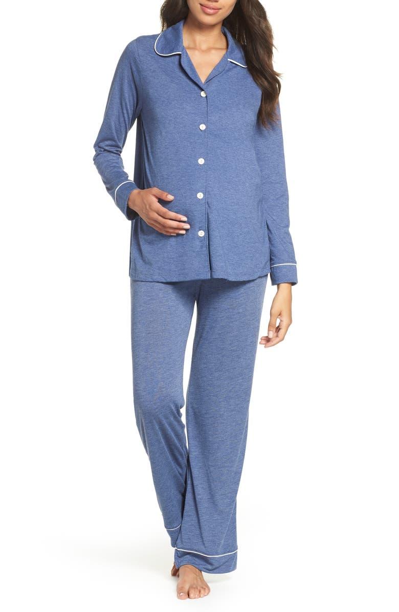BELABUMBUM Classic Maternity/Nursing Pajamas, Main, color, CHAMBRAY