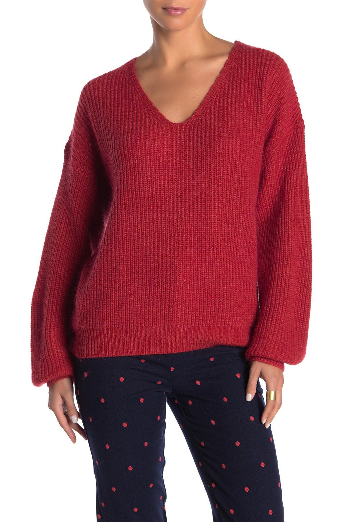 Image of FRNCH Long Sleeve V-Neck Sweater