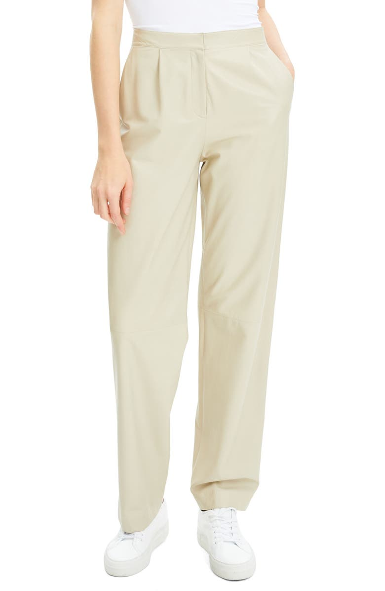 THEORY Leather Pants, Main, color, PALE STONE