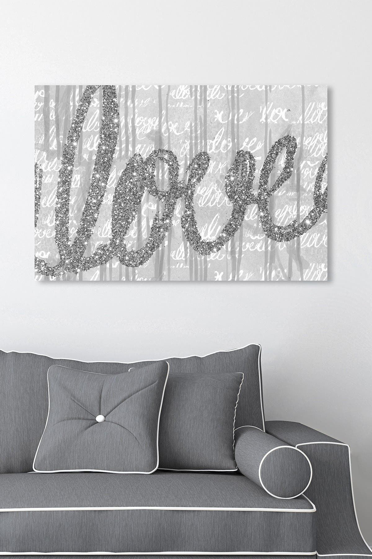 Image of Oliver Gal Gallery Round And Round Tall Silver Glitter Horizontal Canvas Art