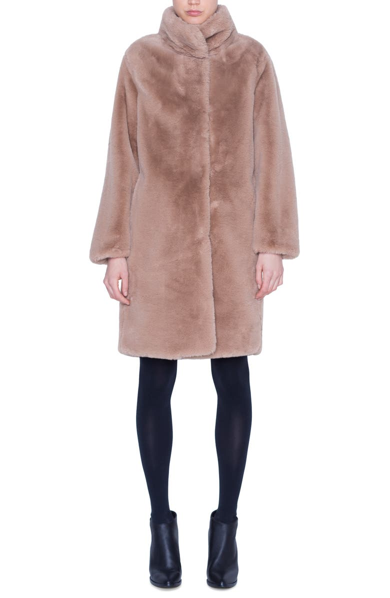AKRIS PUNTO Faux Fur Coat, Main, color, CAMEL