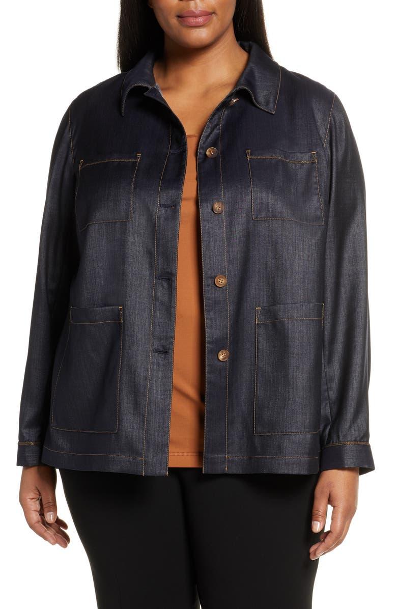 LAFAYETTE 148 NEW YORK Esmeralda Mercantile Cloth Jacket, Main, color, INDIGO