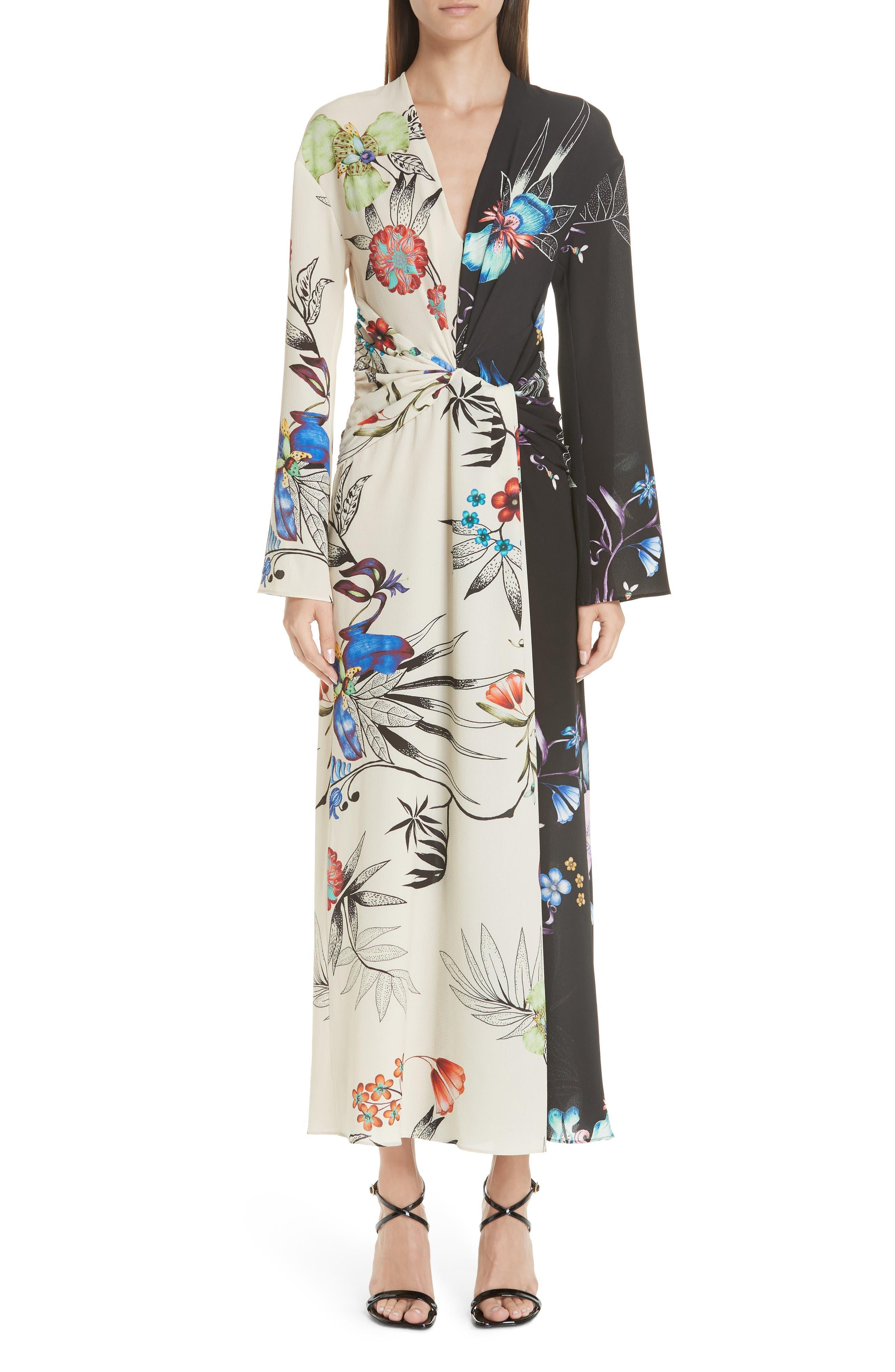 Etro Floral Print Two-Tone Dress