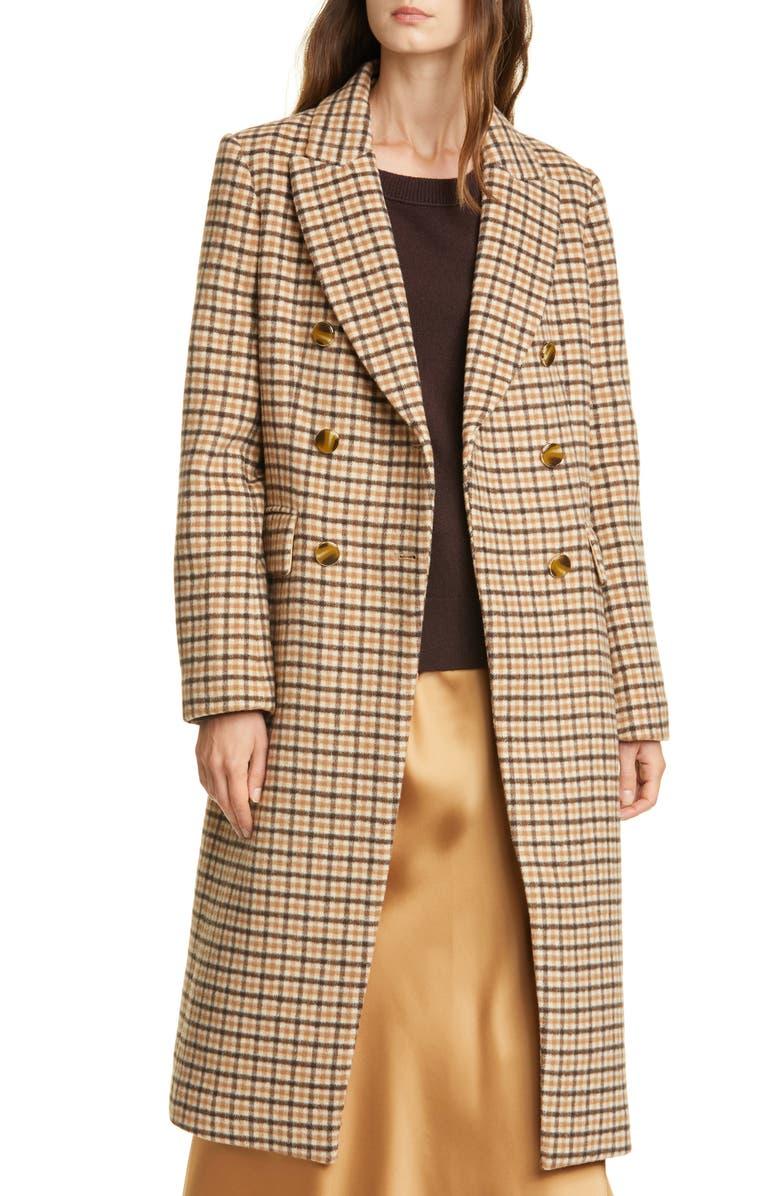 CLUB MONACO Jemma Plaid Double Breasted Wool Blend Coat, Main, color, CAMEL MULTI