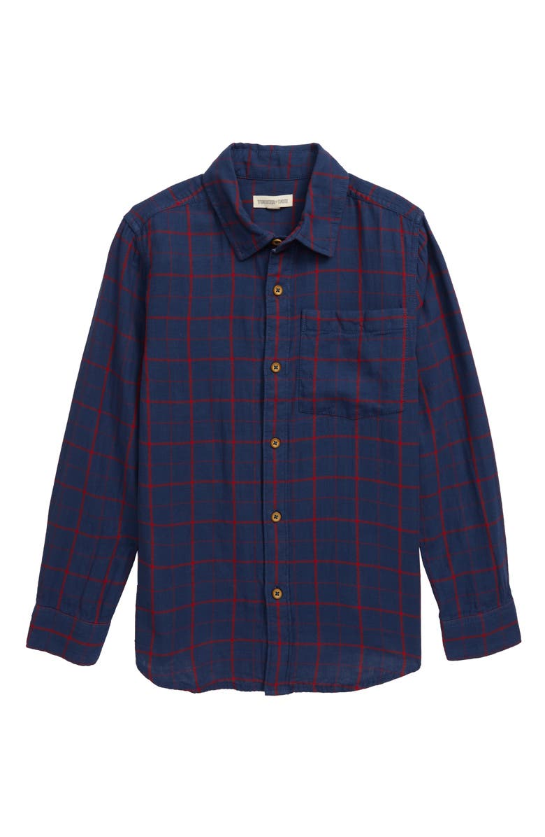 TUCKER + TATE More Please Plaid Shirt, Main, color, NAVY DENIM- RED ALEX PLAID