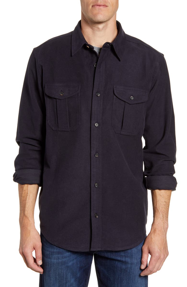 FILSON Seattle Regular Fit Button-Up Moleskin Shirt, Main, color, NAVY