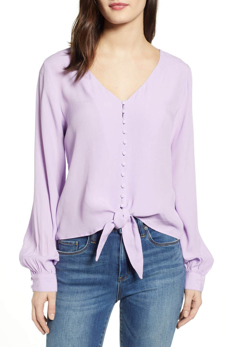 J.O.A. Long Sleeve Tie Front Top, Main, color, LAVENDER