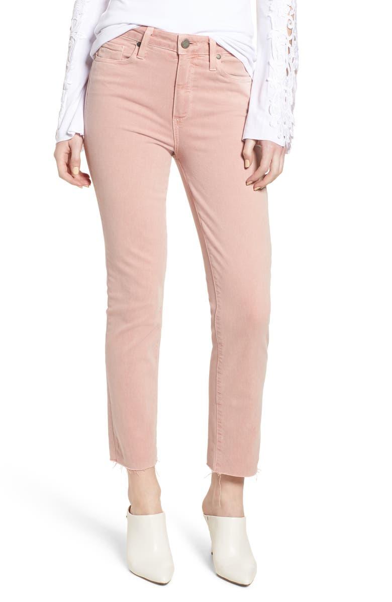 PAIGE Hoxton High Waist Straight Ankle Raw Hem Jeans, Main, color, 650
