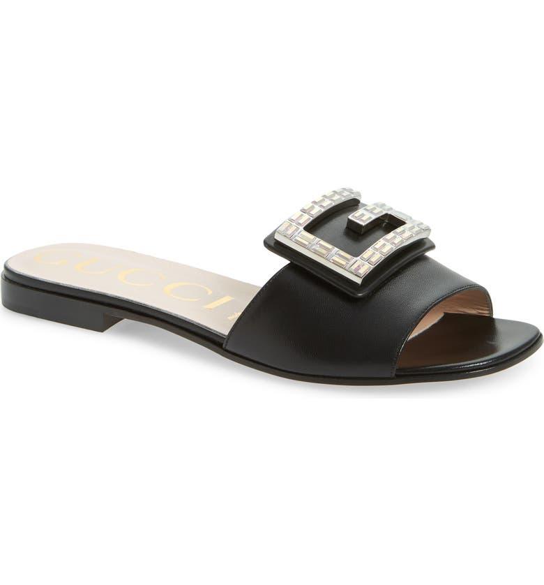 GUCCI Madelyn Jewel Slide Sandal, Main, color, BLACK