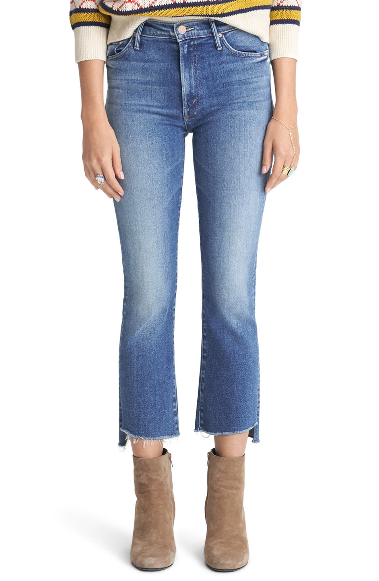 MOTHER The Insider High Waist Crop Step Fray Jeans (Sweet & Sassy)
