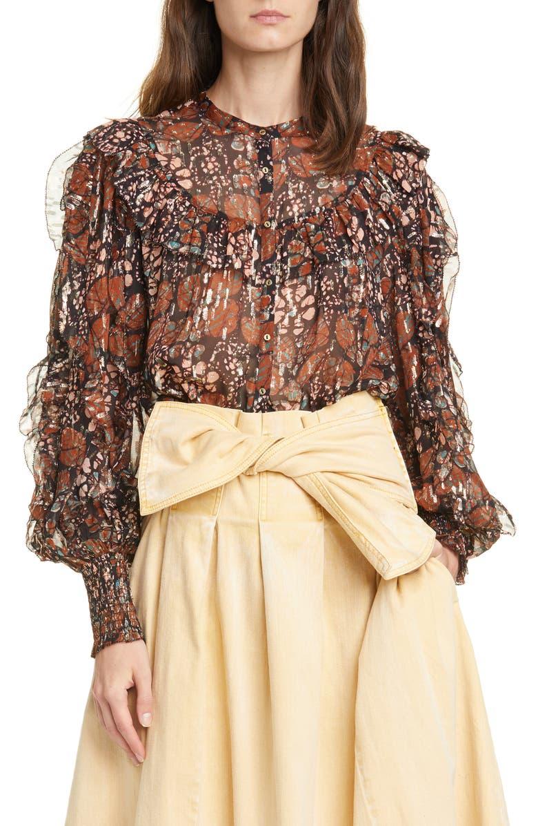ULLA JOHNSON Isadora Metallic Shibori Silk Blend Georgette Blouse, Main, color, UMBER