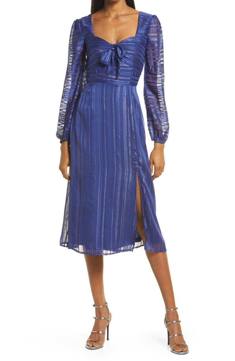 NSR Honore Metallic Thread Long Sleeve Midi Dress, Main, color, NAVY
