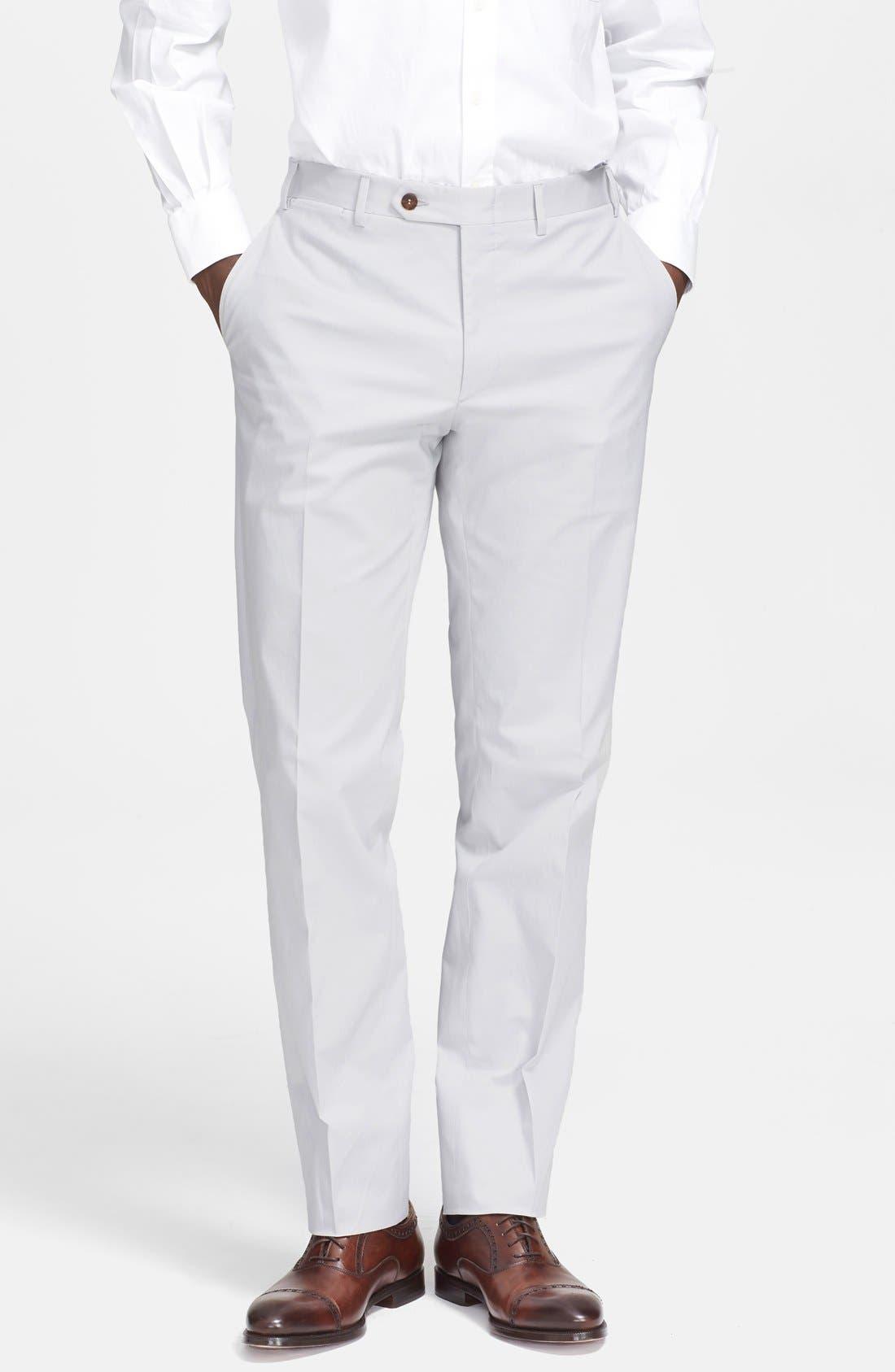 Flat Front Cotton Blend Trousers, Main, color, 020