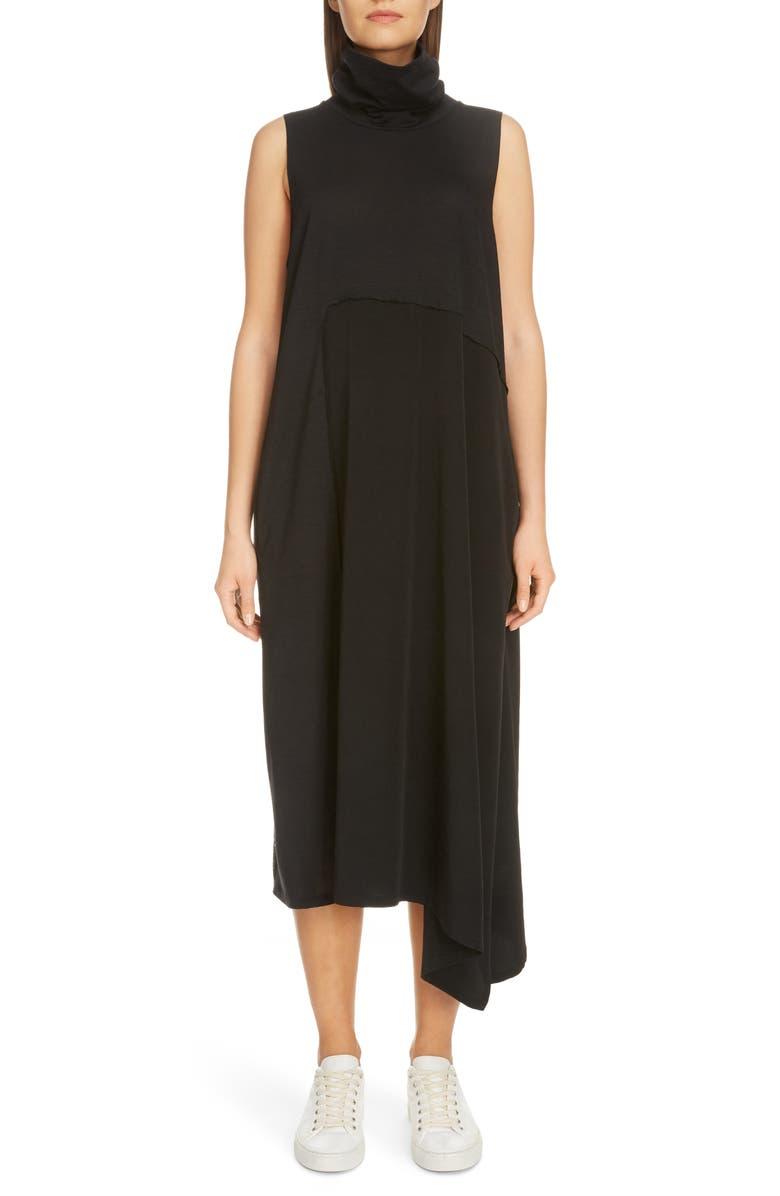 Y'S BY YOHJI YAMAMOTO Asymmetrical Mixed Media Midi Dress, Main, color, BLACK