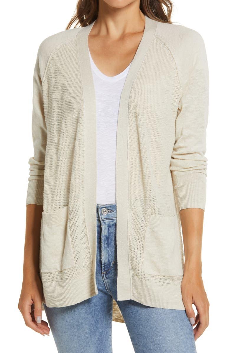 CASLON<SUP>®</SUP> Linen Blend Open Front Cardigan, Main, color, BEIGE OATMEAL
