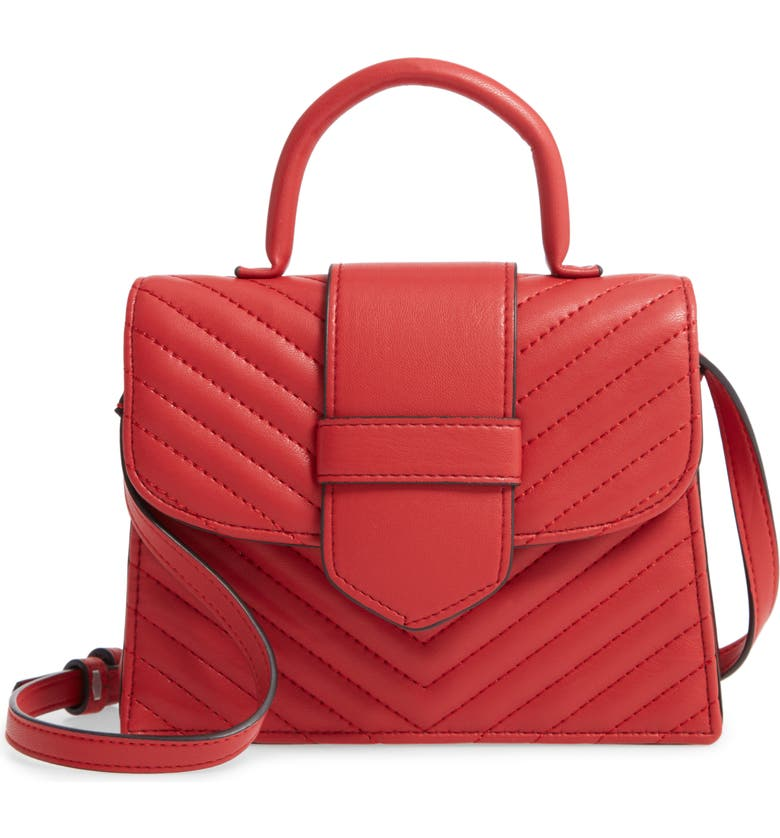 STEVE MADDEN Mini Chevron Quilted Faux Leather Top Handle Satchel, Main, color, RED