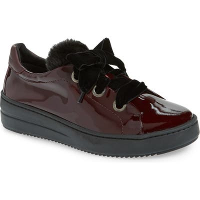 The Flexx Groove Faux-Shearling Trim Sneaker- Red