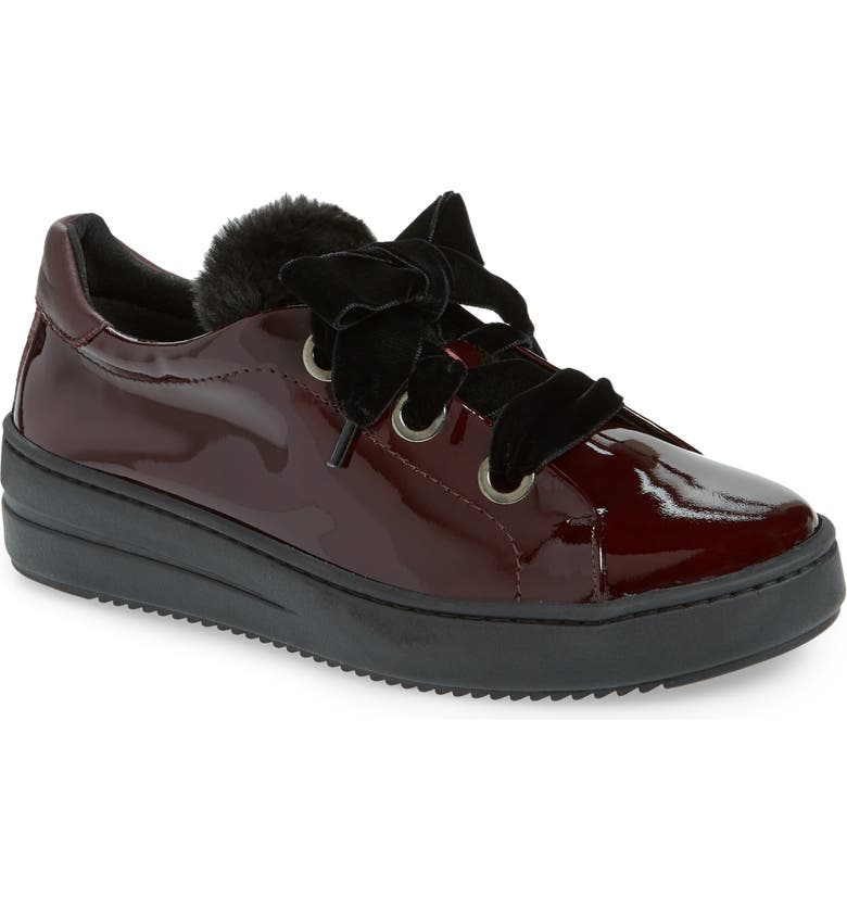 THE FLEXX Groove Faux-Shearling Trim Sneaker, Main, color, RED LEATHER