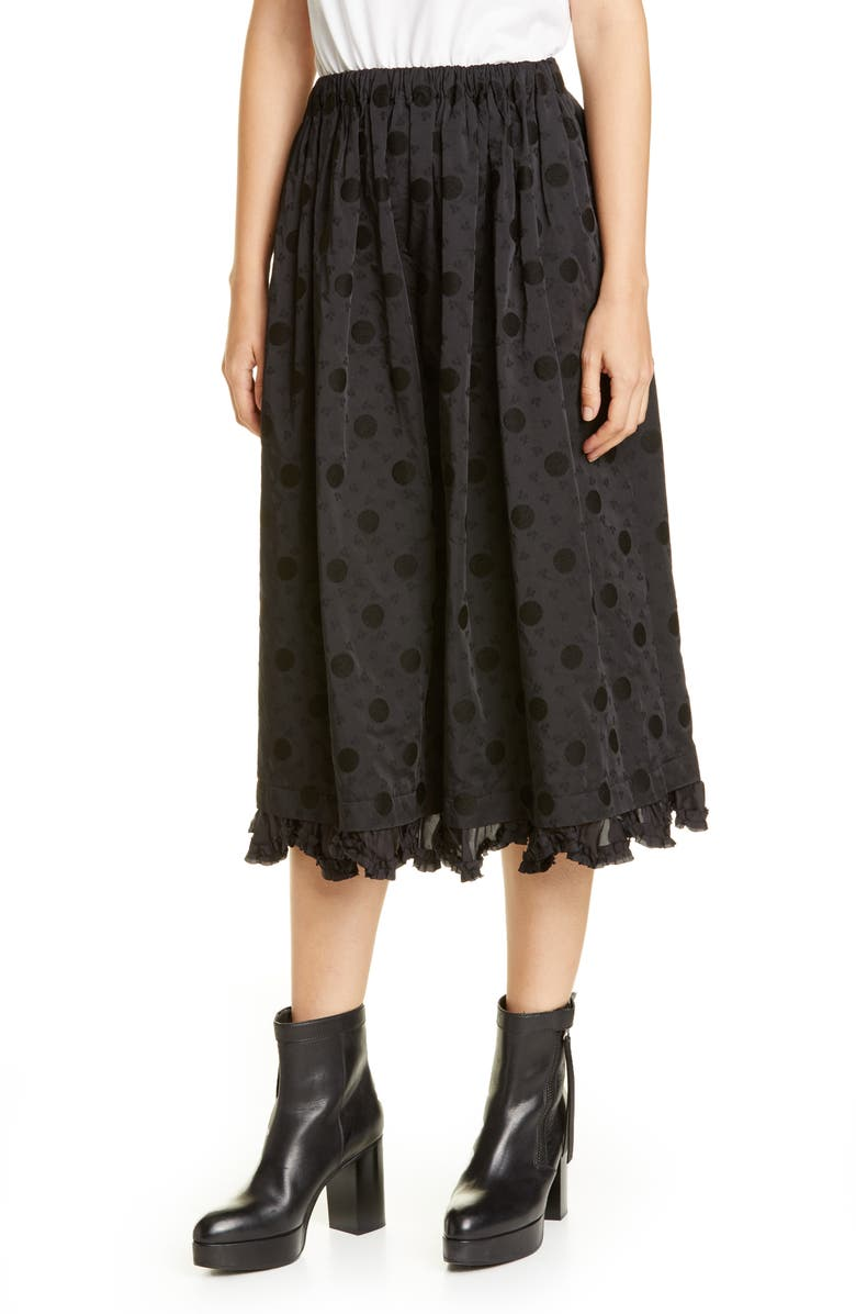 TRICOT COMME DES GARÇONS Jacquard Dot Midi Skirt, Main, color, BLACK