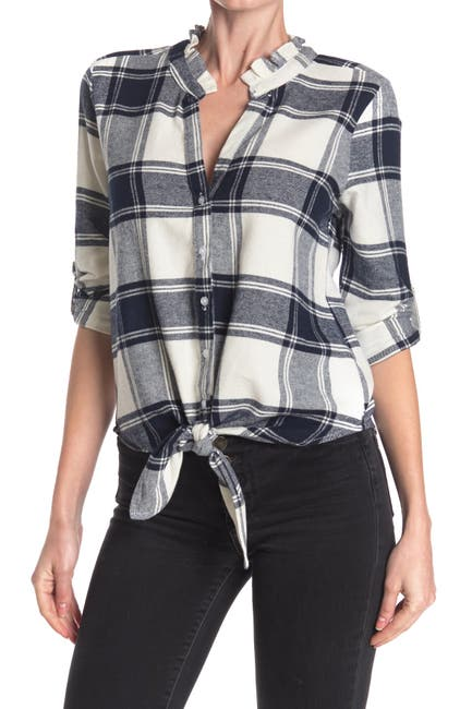 Image of Harve Benard Plaid Front Tie Flannel Shirt