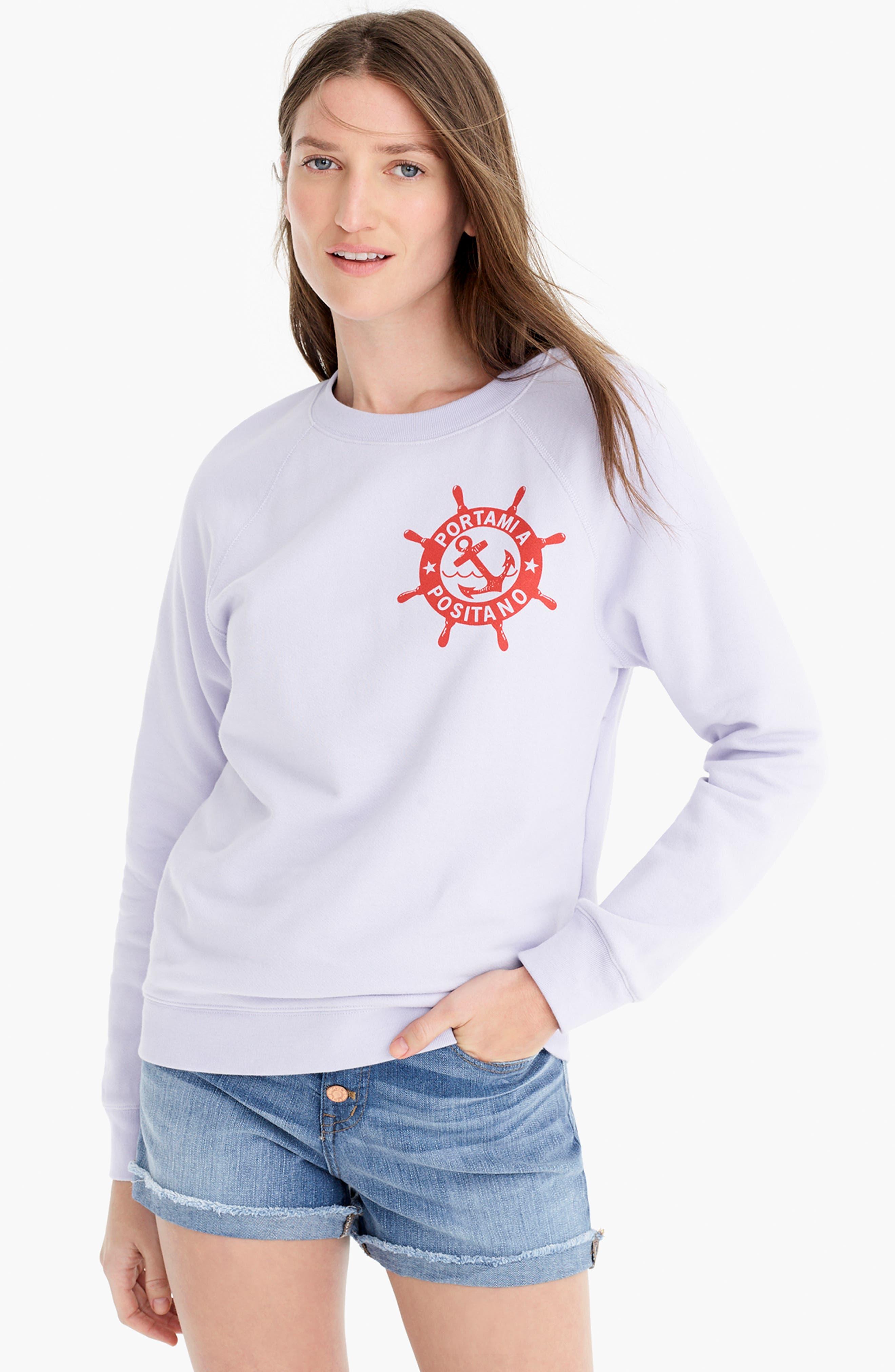 ,                             Portami a Positano Raglan Sweatshirt,                             Alternate thumbnail 6, color,                             SWEET HYACINTH