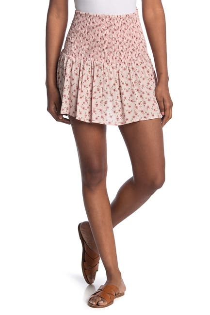 Image of GOOD LUCK GEM Ditsy Floral Smocked Waist Mini Skirt