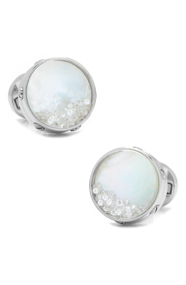 CUFFLINKS, INC. Mother-Of-Pearl Cuff Links, Main, color, WHITE