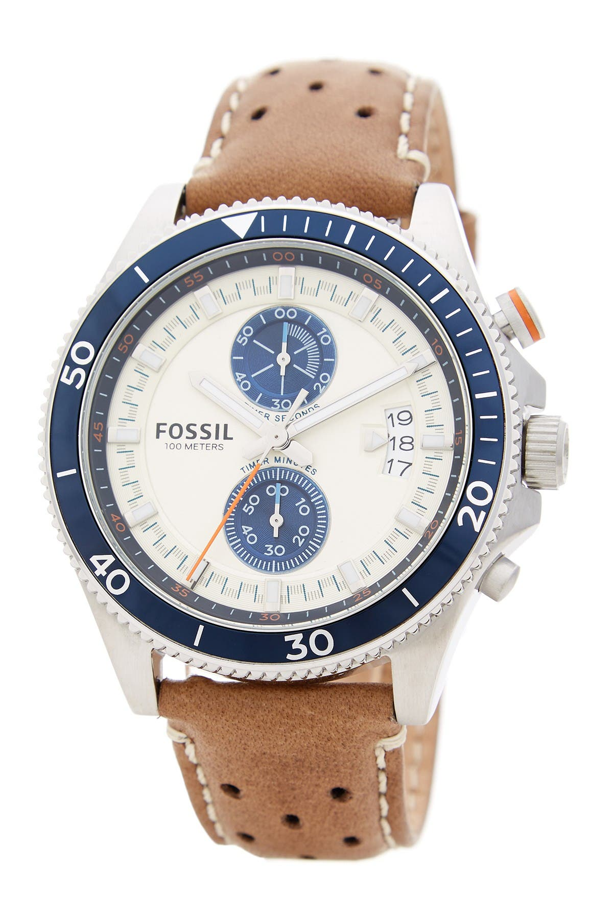 Image of Fossil Men's Wakefield Chronograph Leather Strap Watch