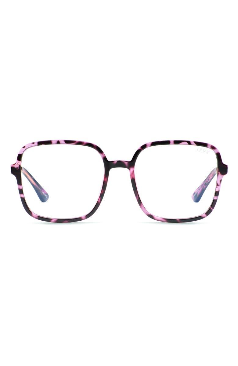 QUAY AUSTRALIA 9 to 5 56mm Blue Light Blocking Glasses, Main, color, PINK TORT/ CLEAR BLUE LIGHT