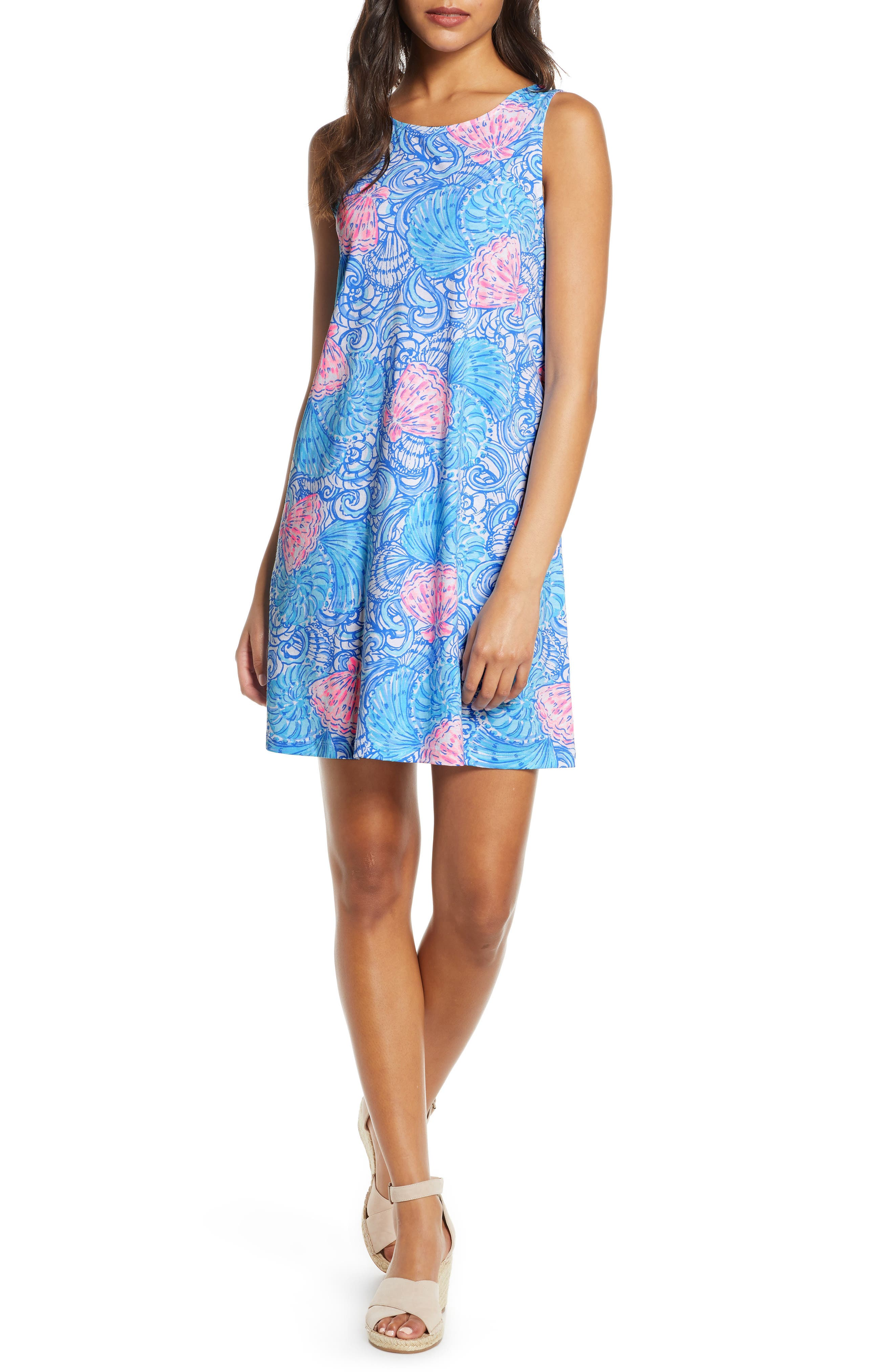 Lilly Pulitzer Kristen Seashell Print Swing Dress, Blue