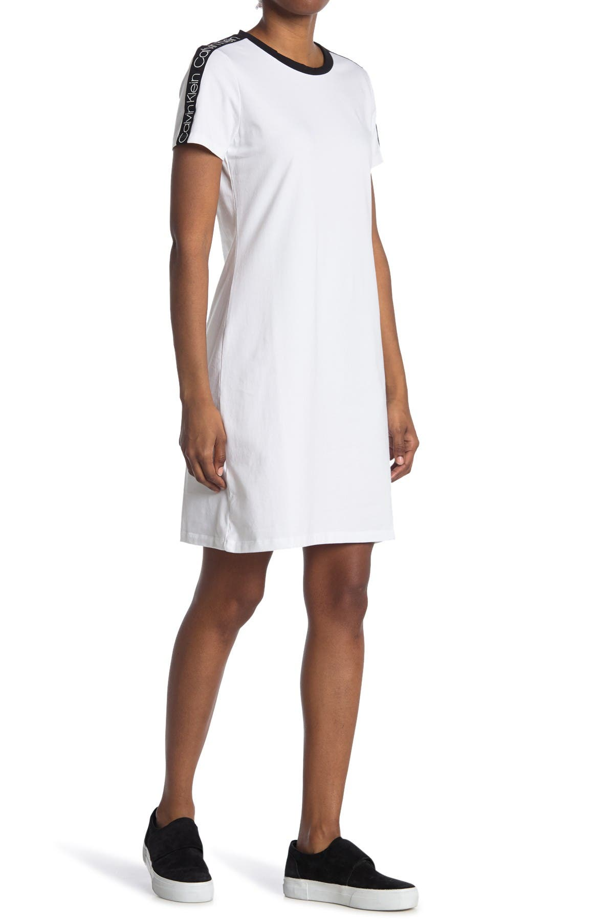 Image of Calvin Klein Logo Print T-Shirt Dress