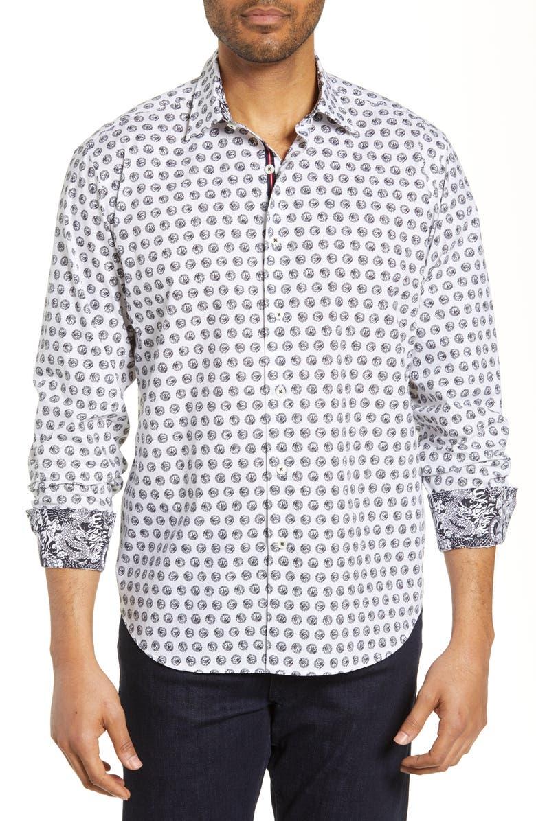 BUGATCHI Classic Fit Print Cotton Shirt, Main, color, CHALK