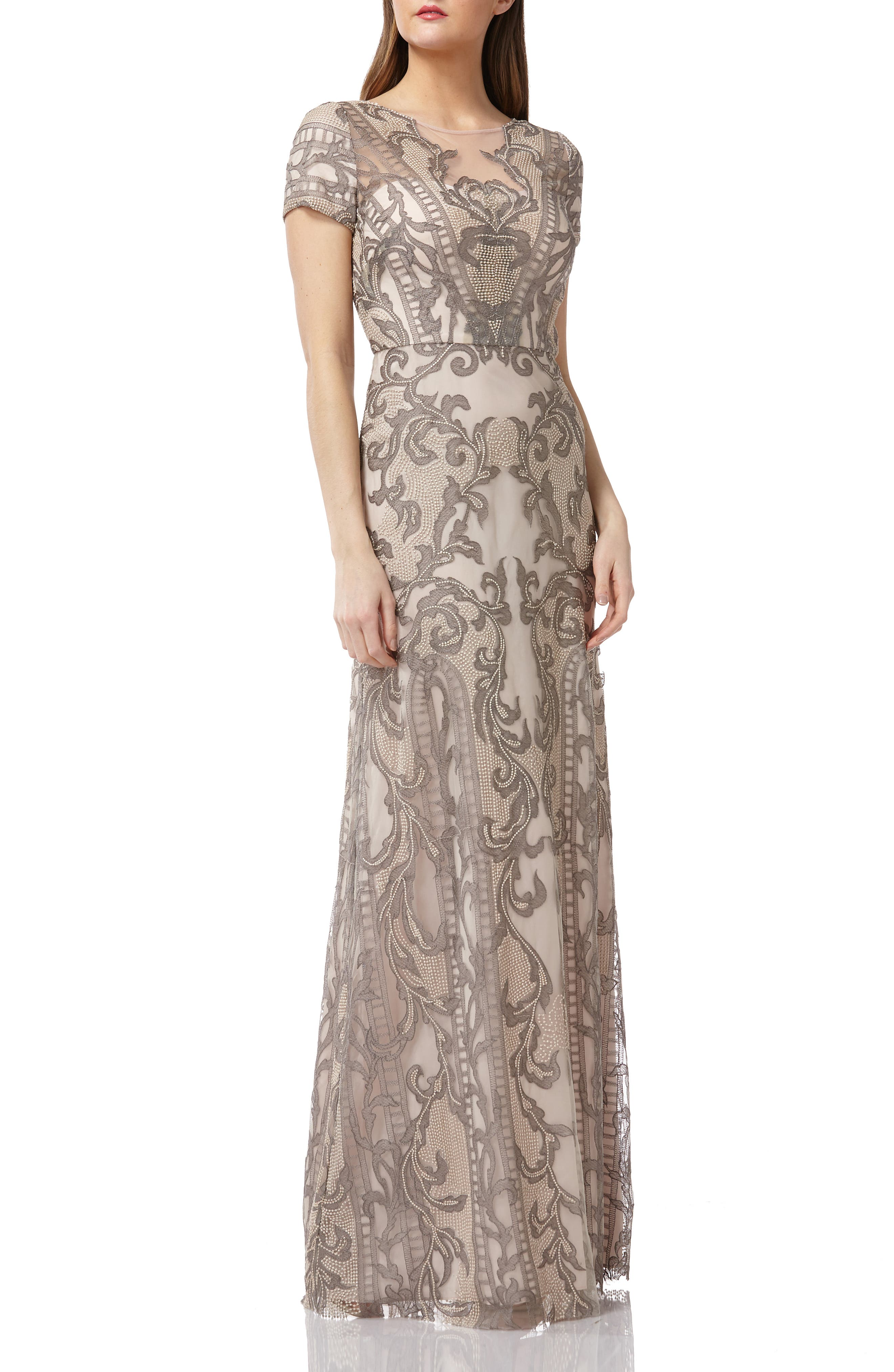 Embroidered A-Line Gown, Main, color, ASHGOLD