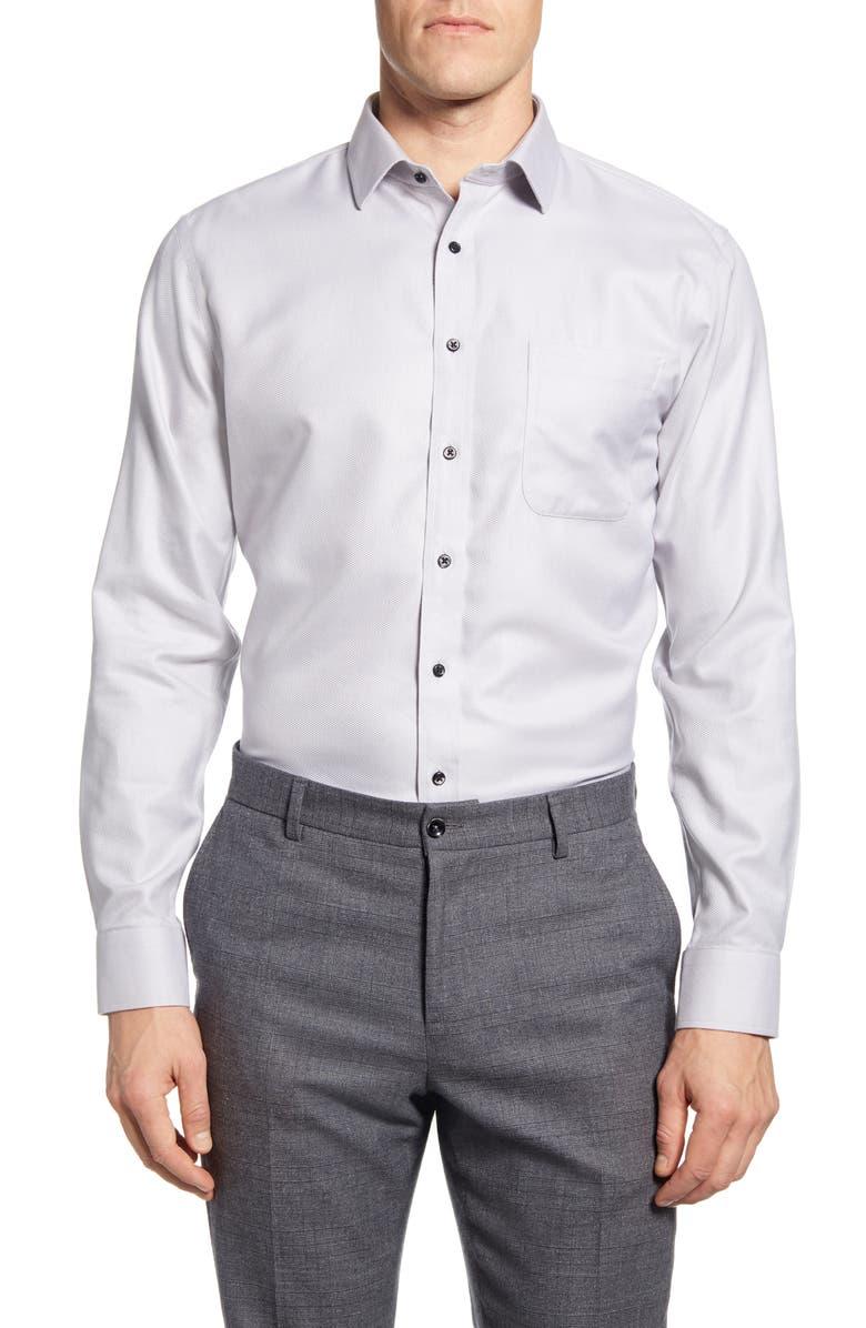 NORDSTROM MEN'S SHOP Smartcare Trim Fit Chevron Dress Shirt, Main, color, GREY ALLOY