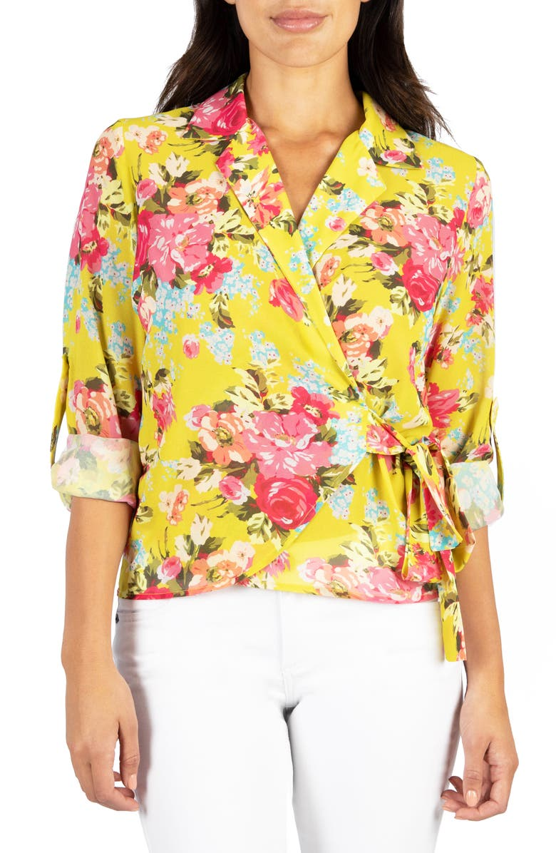KUT FROM THE KLOTH Felicity Floral Wrap Blouse, Main, color, 732