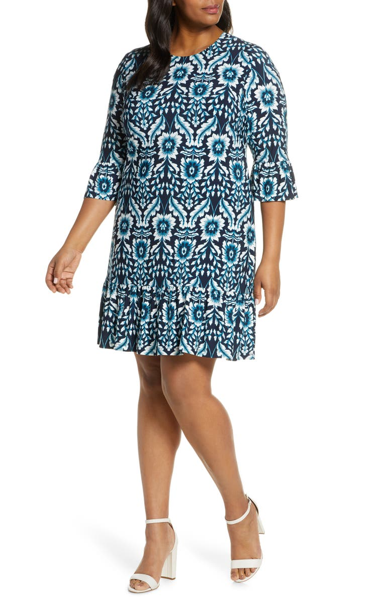 ELIZA J Floral Flounce Sleeve Dress, Main, color, NAVY
