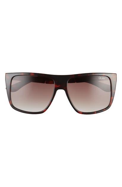 Quay Incognito 56mm Gradient Flat Top Sunglasses In Tortoise/ Brown Fade