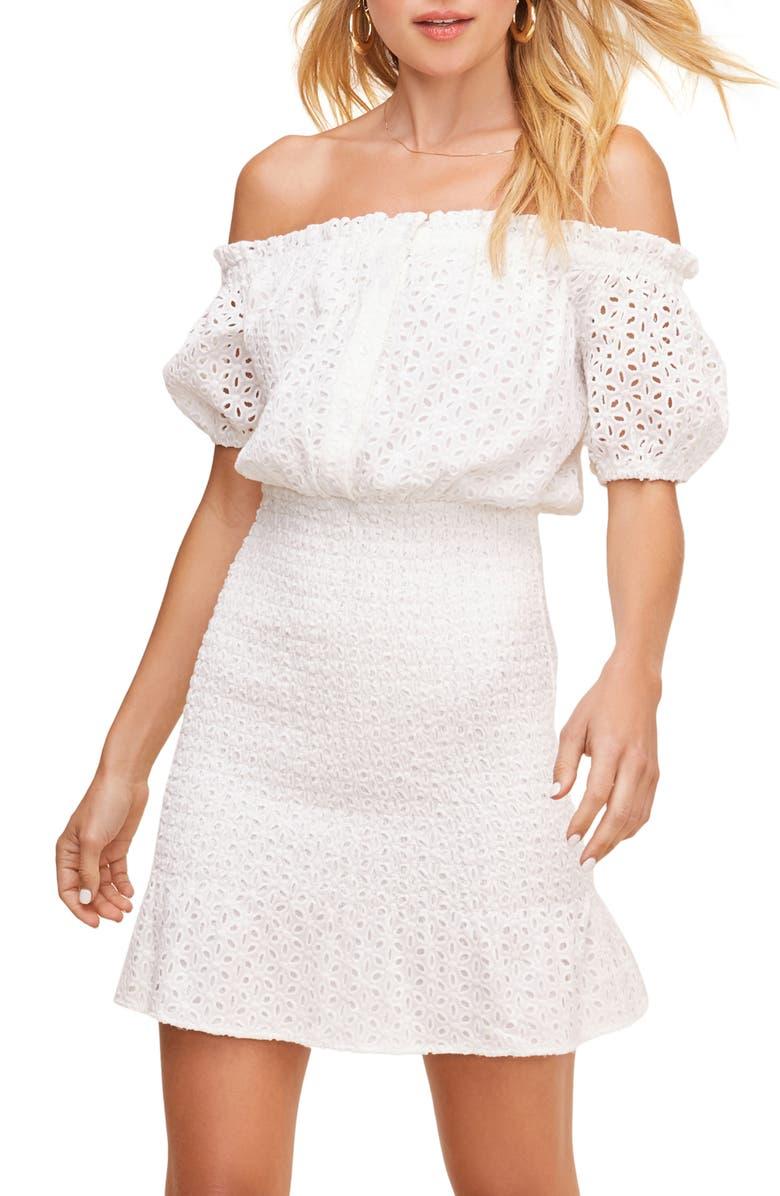 ASTR THE LABEL Desi Off the Shoulder Eyelet Minidress, Main, color, 100