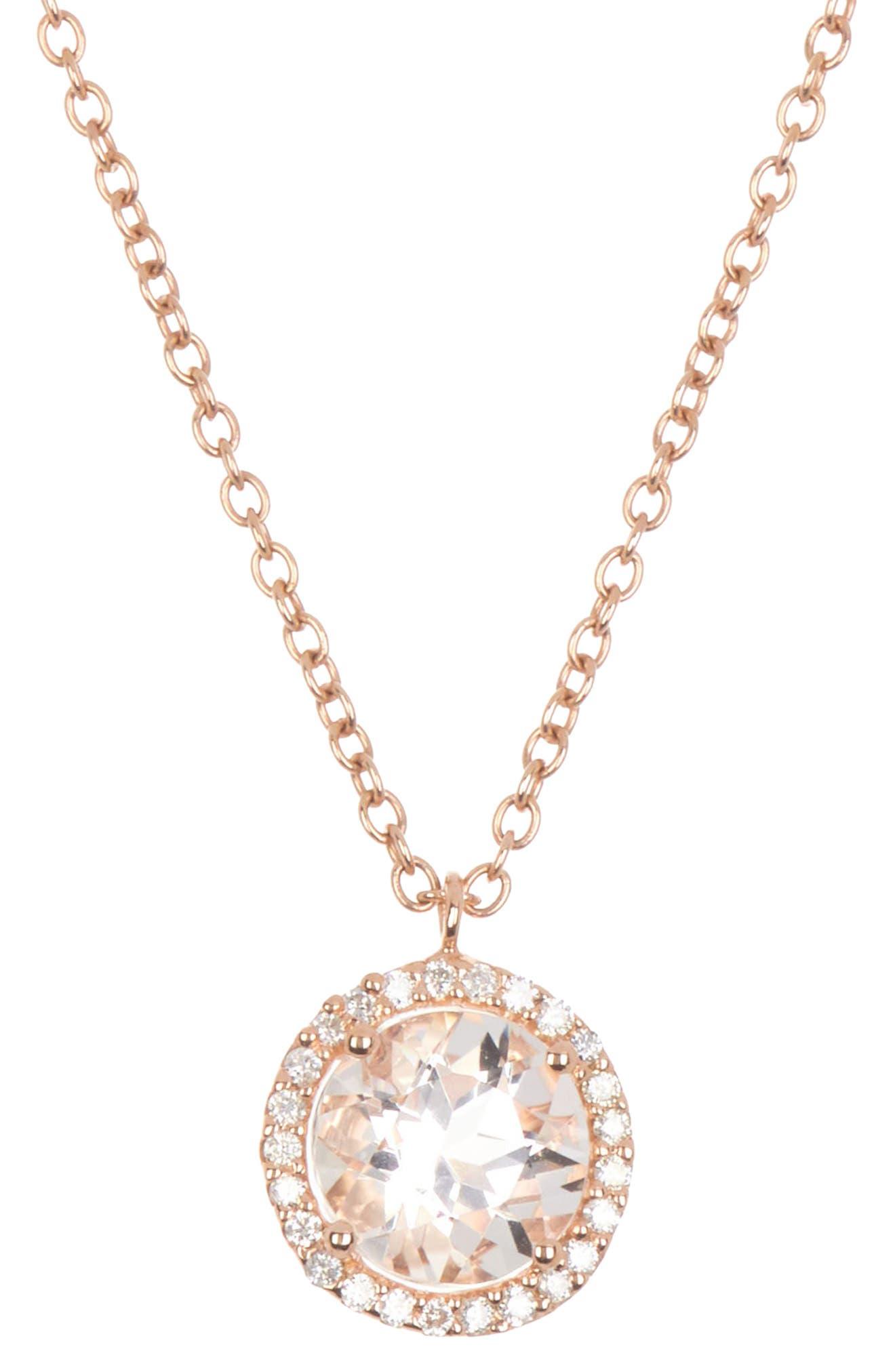 Meira T 14k Rose Pink Gold Morganite Necklace