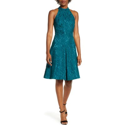 Eliza J Floral Lace Fit & Flare Dress, Blue/green