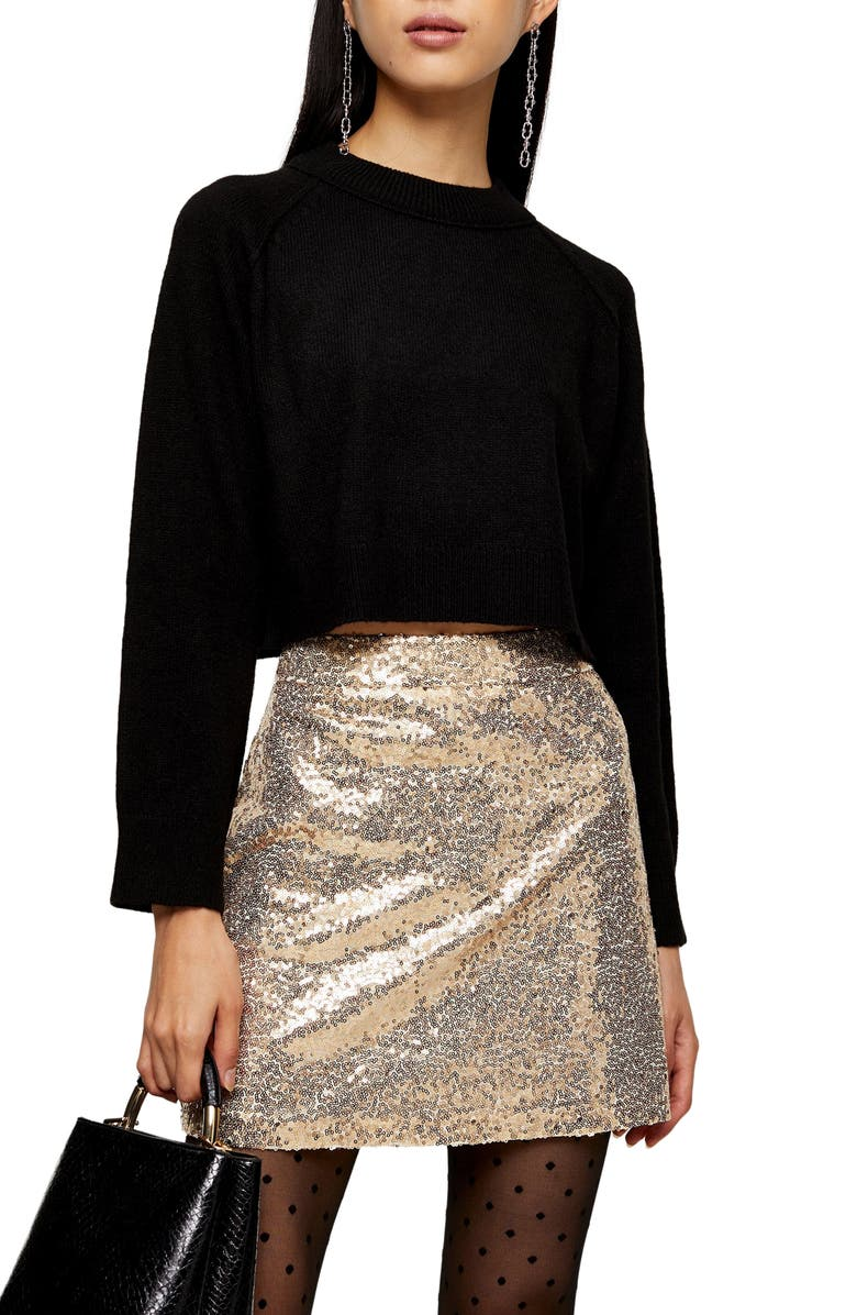 TOPSHOP Raglan Sleeve Crop Sweater, Main, color, BLACK