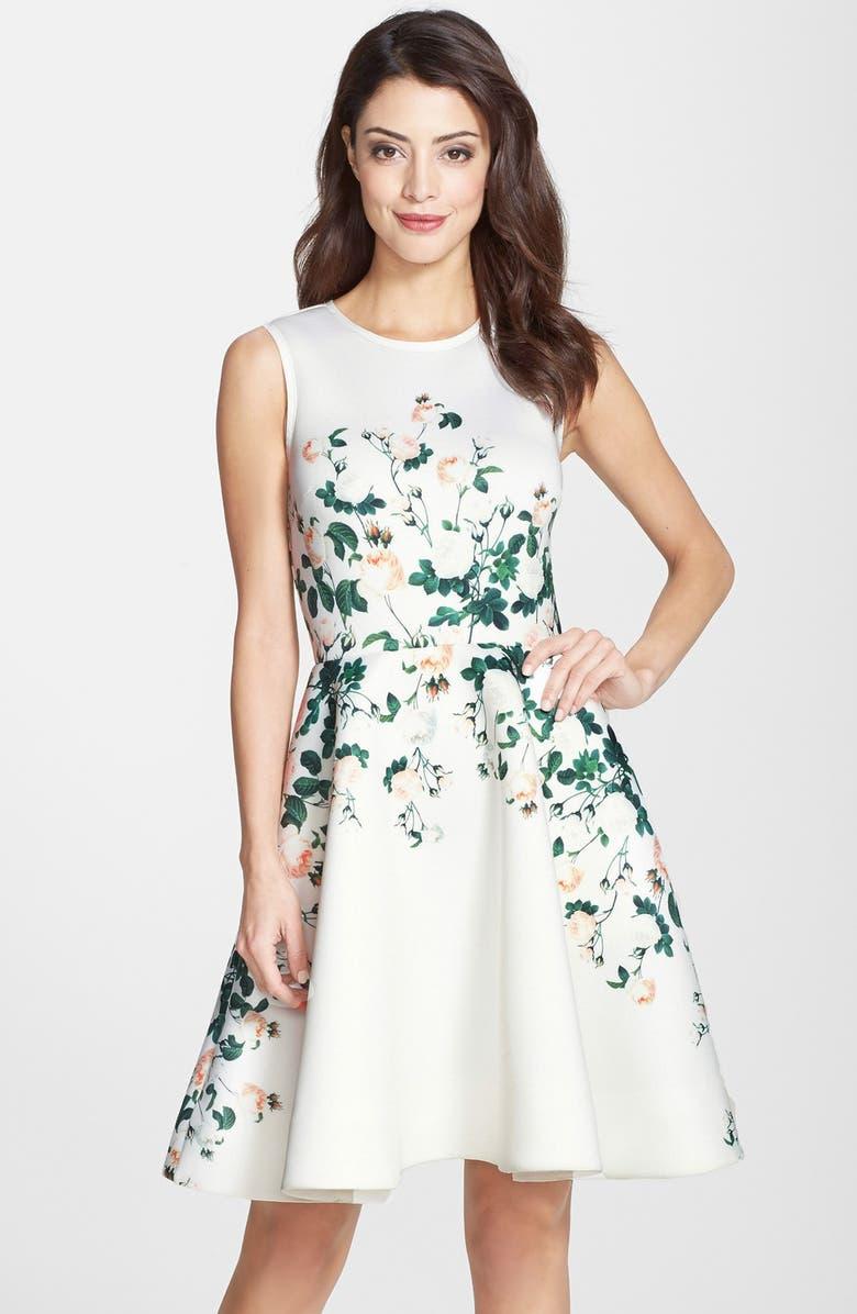 ERIN ERIN FETHERSTON 'English Rose' Print Neoprene Fit & Flare Dress, Main, color, 680