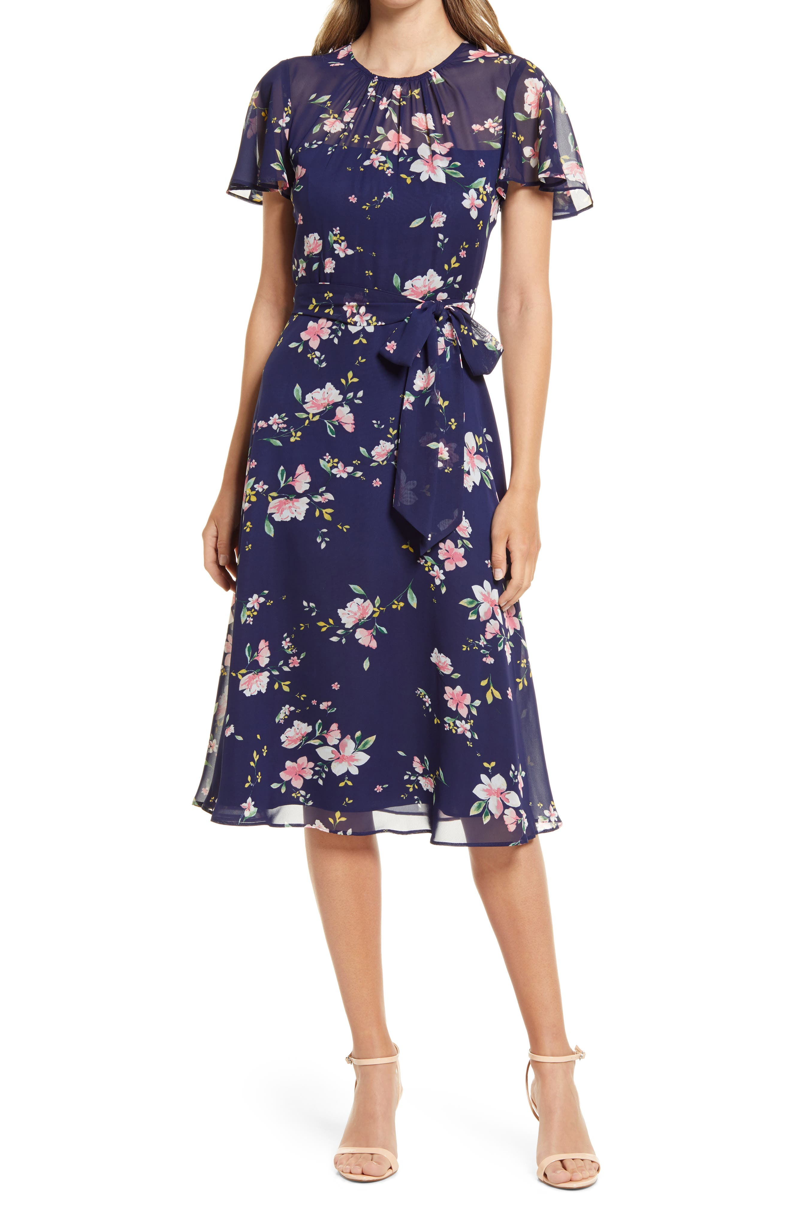 1940s Dresses | 40s Dress, Swing Dress, Tea Dresses Womens Harper Rose Floral Midi Dress Size 6 - Blue $138.00 AT vintagedancer.com