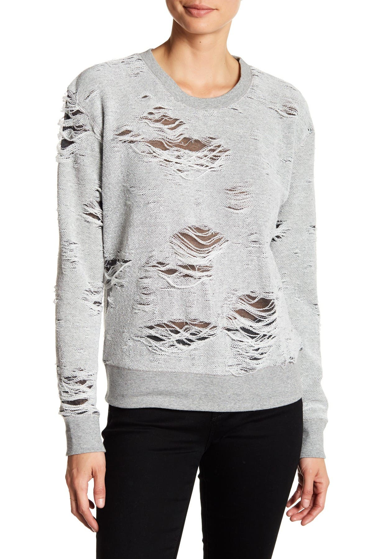Image of Sweet Romeo Distressed Looped Knit Sweatshirt