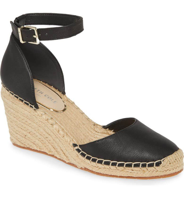 KENNETH COLE NEW YORK Olivia Espadrille Wedge, Main, color, BLACK LEATHER