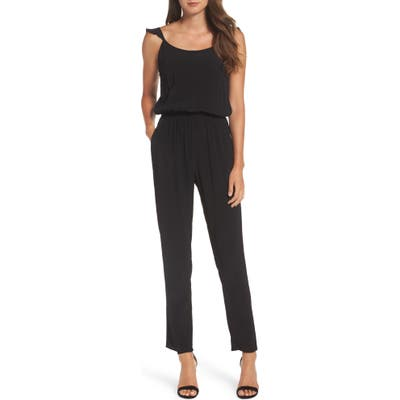 Fraiche By J Flutter Sleeve Jumpsuit, Black