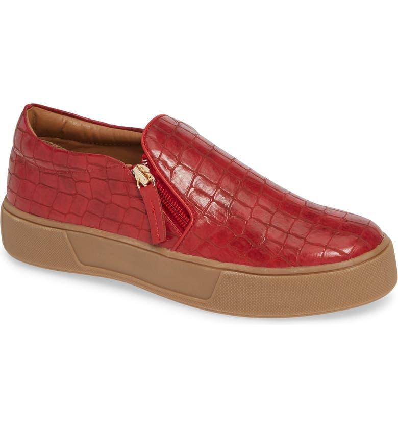 VERY VOLATILE Speedman Fashion Zipper Sneaker, Main, color, RED FABRIC