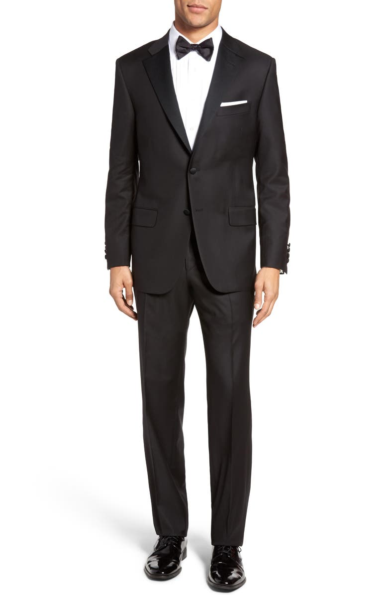 HICKEY FREEMAN Classic B Fit Wool Tuxedo, Main, color, 001