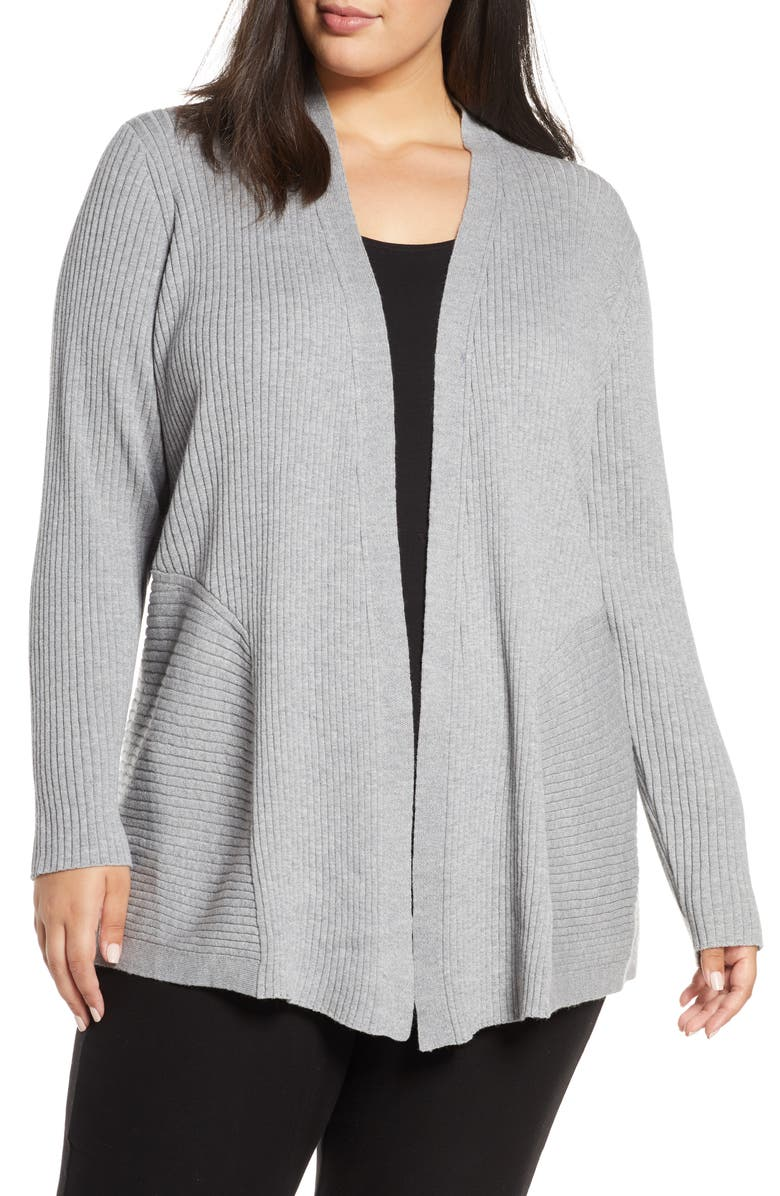 EILEEN FISHER Mix Rib Wool Cardigan, Main, color, PEWTER