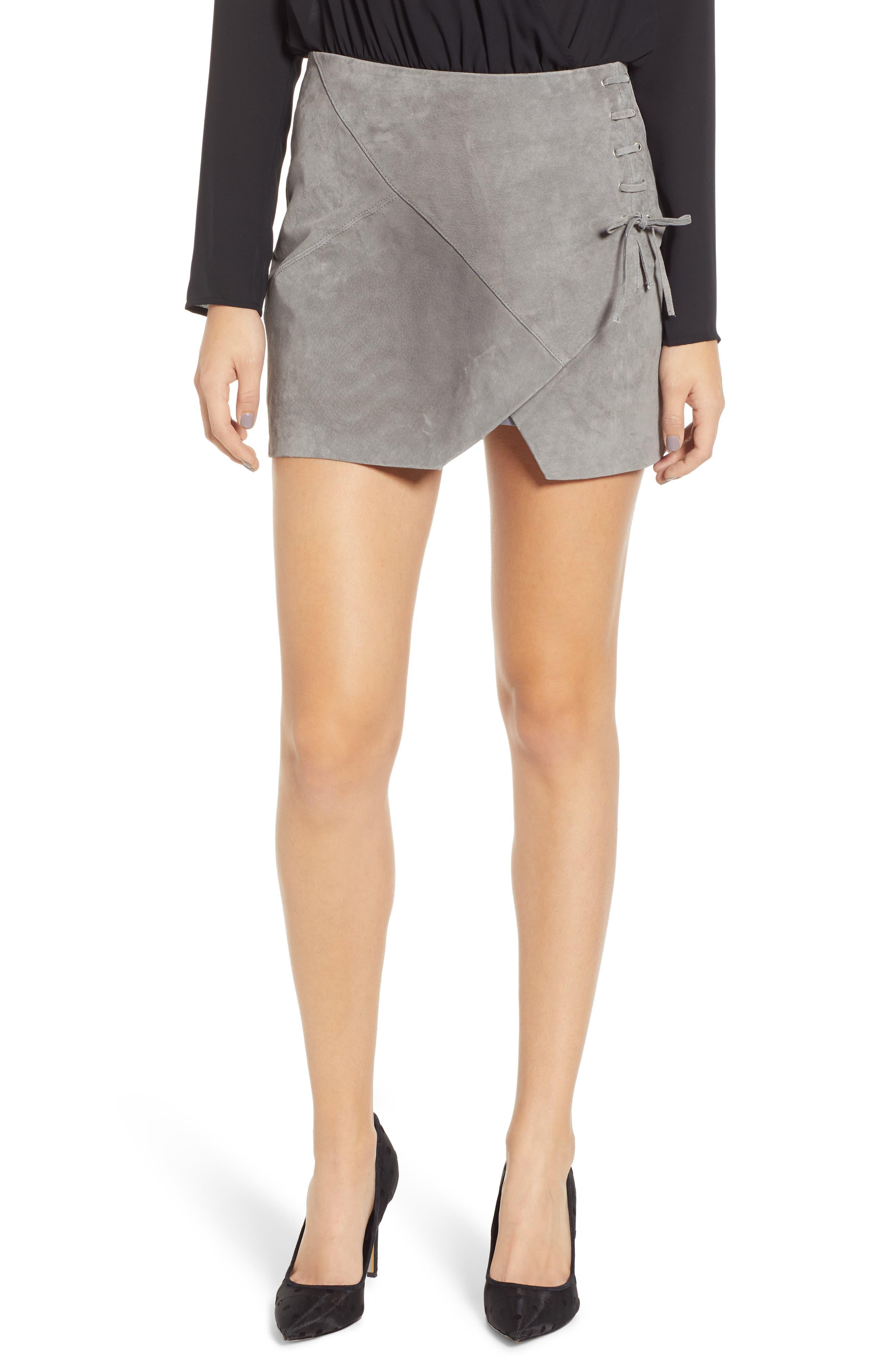 Lace-Up Suede Miniskirt, Main, color, 250